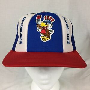 59e68638129 VINTAGE SAM OLYMPIC EAGLE LOS ANGELES OLYMPICS 1984 SNAPBACK TRUCKER ...