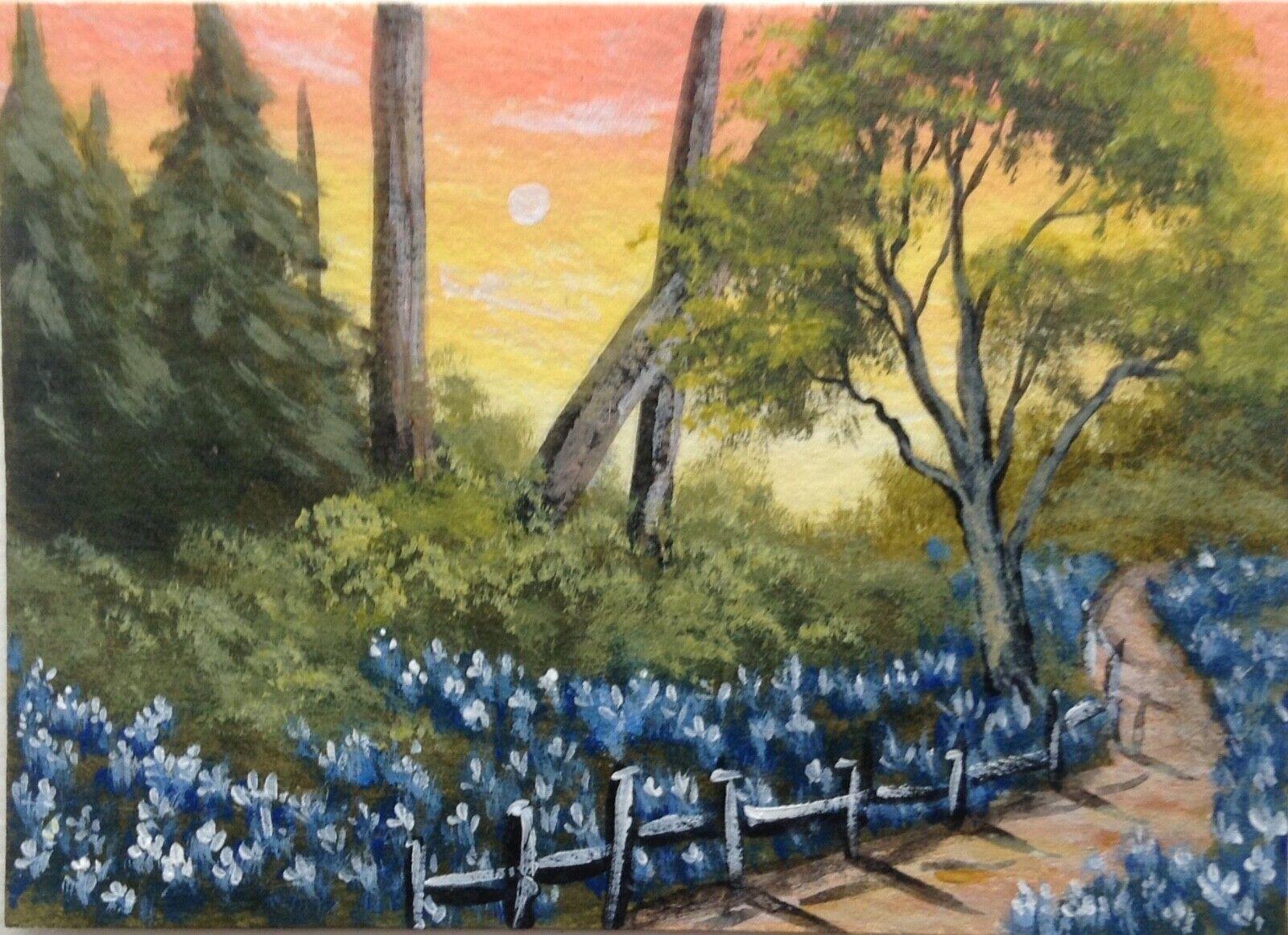 ACEO Original Acrylic sketch painting landscape sunset bluebonnets path trees 2