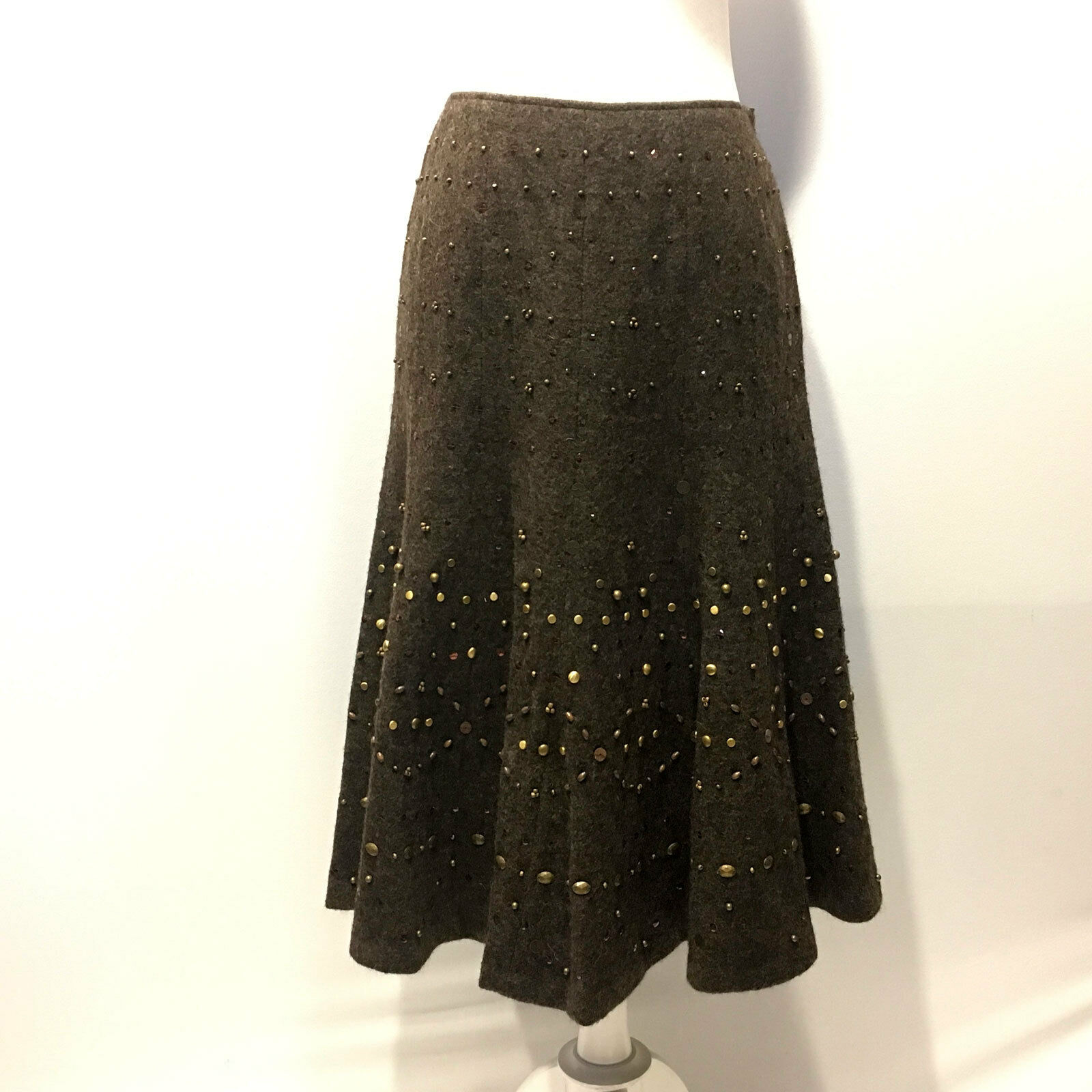 Lafayette 148   Embellished Beaded Brown Wool Alpaca Trumpet Skirt - Size 4