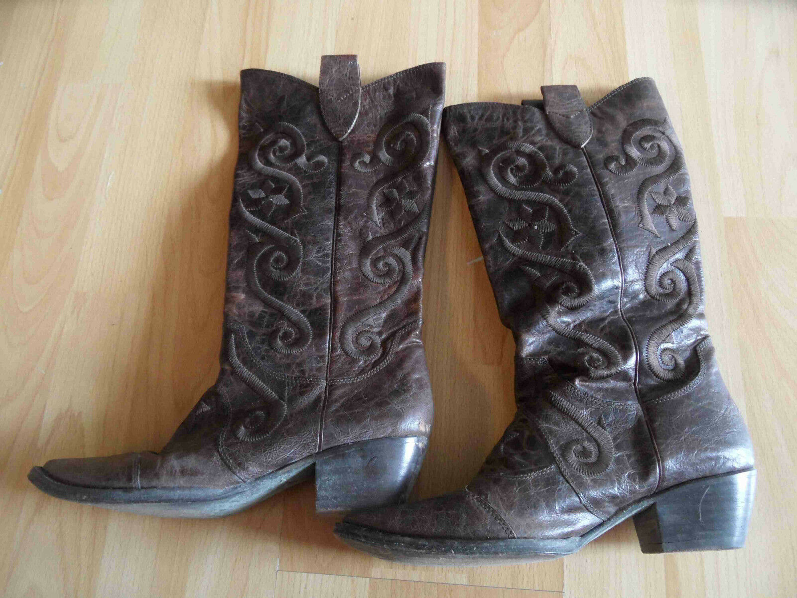 Ripicca COOL Western Stivali Cowboy Stivali Marroneee Ricamo Tg. 37 Top kb1115