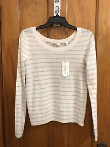 VINCE PULLOVER THIN CASHMERE STRIPED SWEATER IVORY GRAY NWT SIZE S $275.00