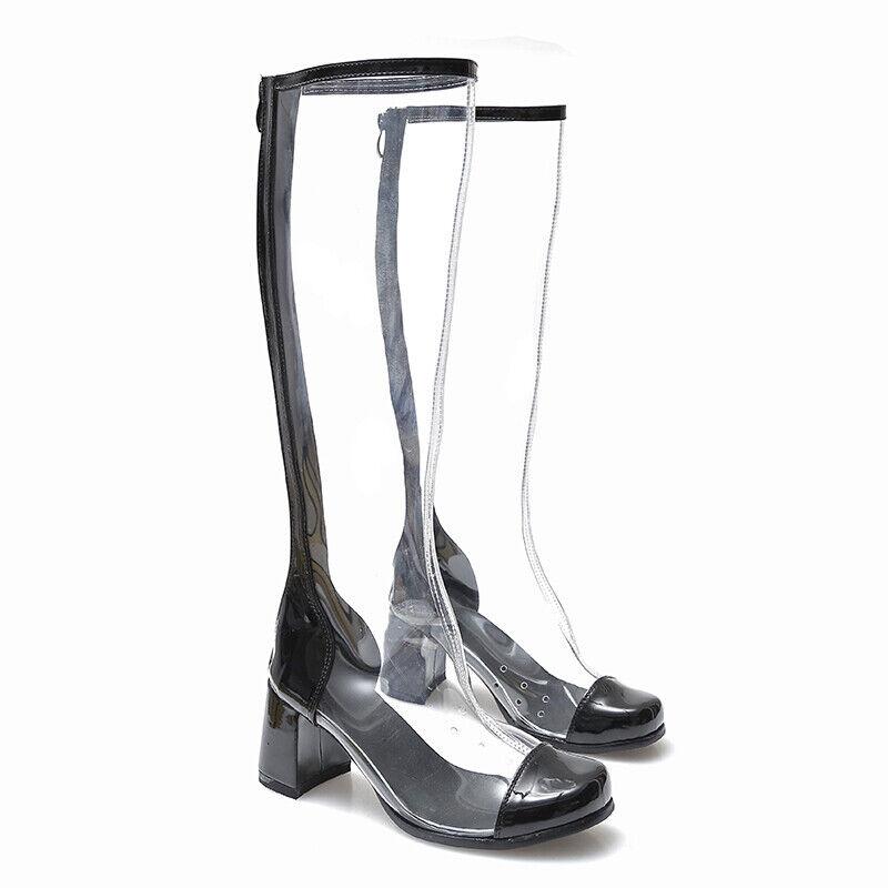 Damenschuhe Stiefel Kniehoch Transparent Eckig zehe Blockabsatz High Heels neu  | Fairer Preis