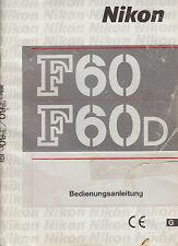 Bedienungsanleitung Nikon F 60  F60 D Anleitung Instruction Manual   F94