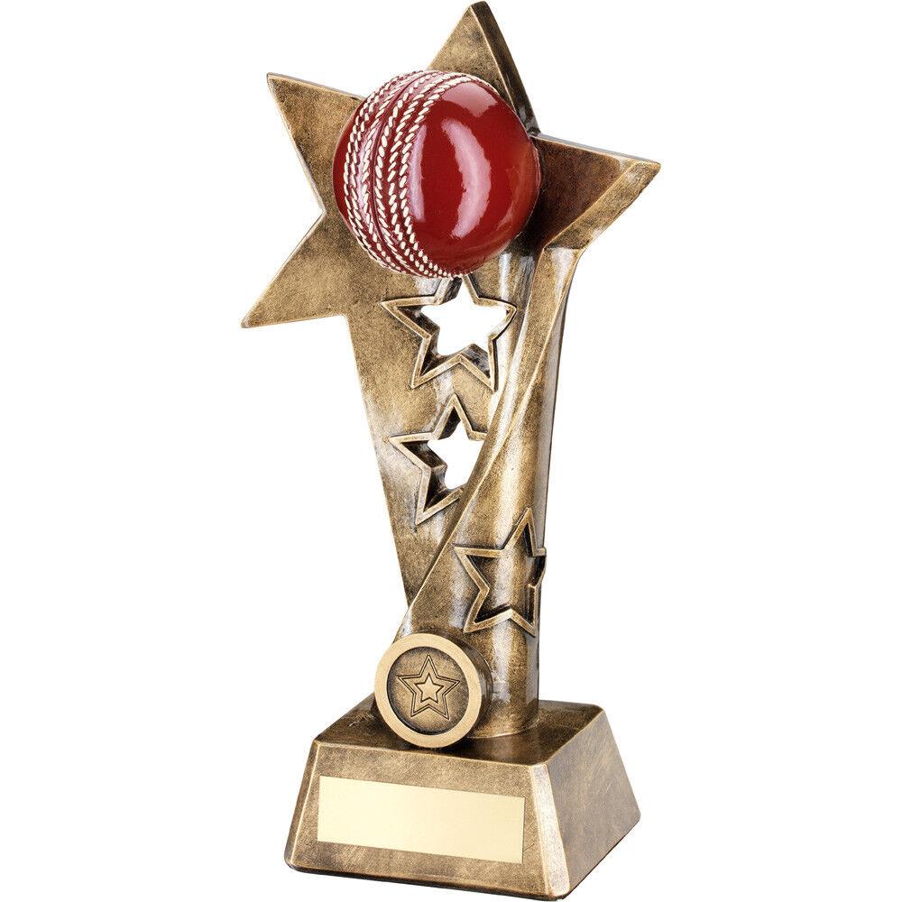 Triple Estrella 3d Bola Rústico Bronce Criquet Premio Trofeo - Grabado Gratis