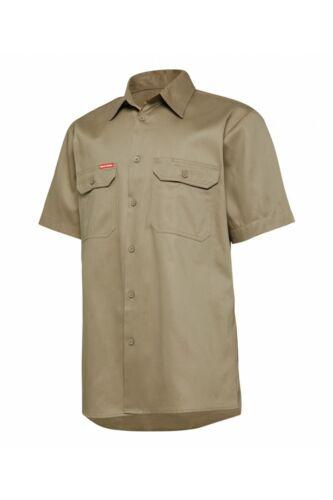 Mens Hard Yakka Core Light Weight Cool Drill Work Shirt Short Sleeve Site Y04625
