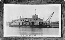 c1910 U. S. Dredge, Warroad, Minnesota Photo Postcard, Unused, Boat Ship