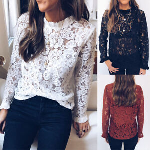 Women-039-s-See-through-Lace-Tops-Long-Sleeve-Floral-Casual-Loose-Sexy-T-shirt