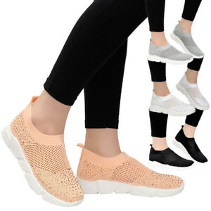 Ladies-Womens-Flat-Knit-Sock-Sports-Diamante-Sneaker-Running-Trainers-Shoes-Size