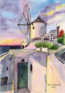 Greece-Santorini-original-watercolor-landscape-painting-ocean-sea-marine-island