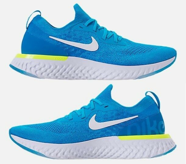 NIKE EPIC REACT FLYKNIT MEN'S RUNNING BLUE GLOW - WHITE - PHOTO BLUE - VOLT SIZE