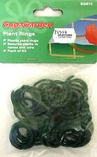 Plant Rings Ties Green Plastic Coated Reuseable Pack 50 Supagarden