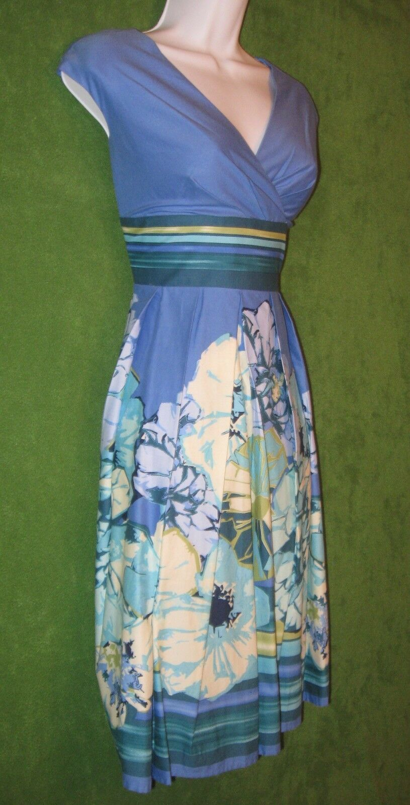 Liz Claiborne bluee Multicolor Floral Stripe Cotton Empire Work Dress 10