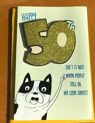 Happy 50Th Birthday 50 Cool Glittered American Greetings Card Fifty Years Old