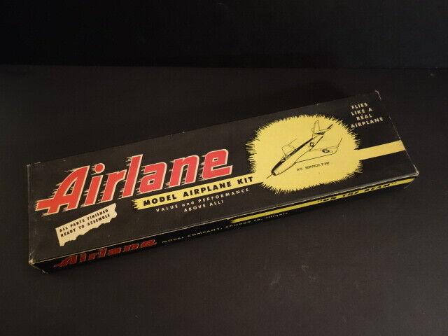 Antique AIRLANE Model Co REPUBLIC F-84F Balsa Model Kit Jetex 100 1949 + Box