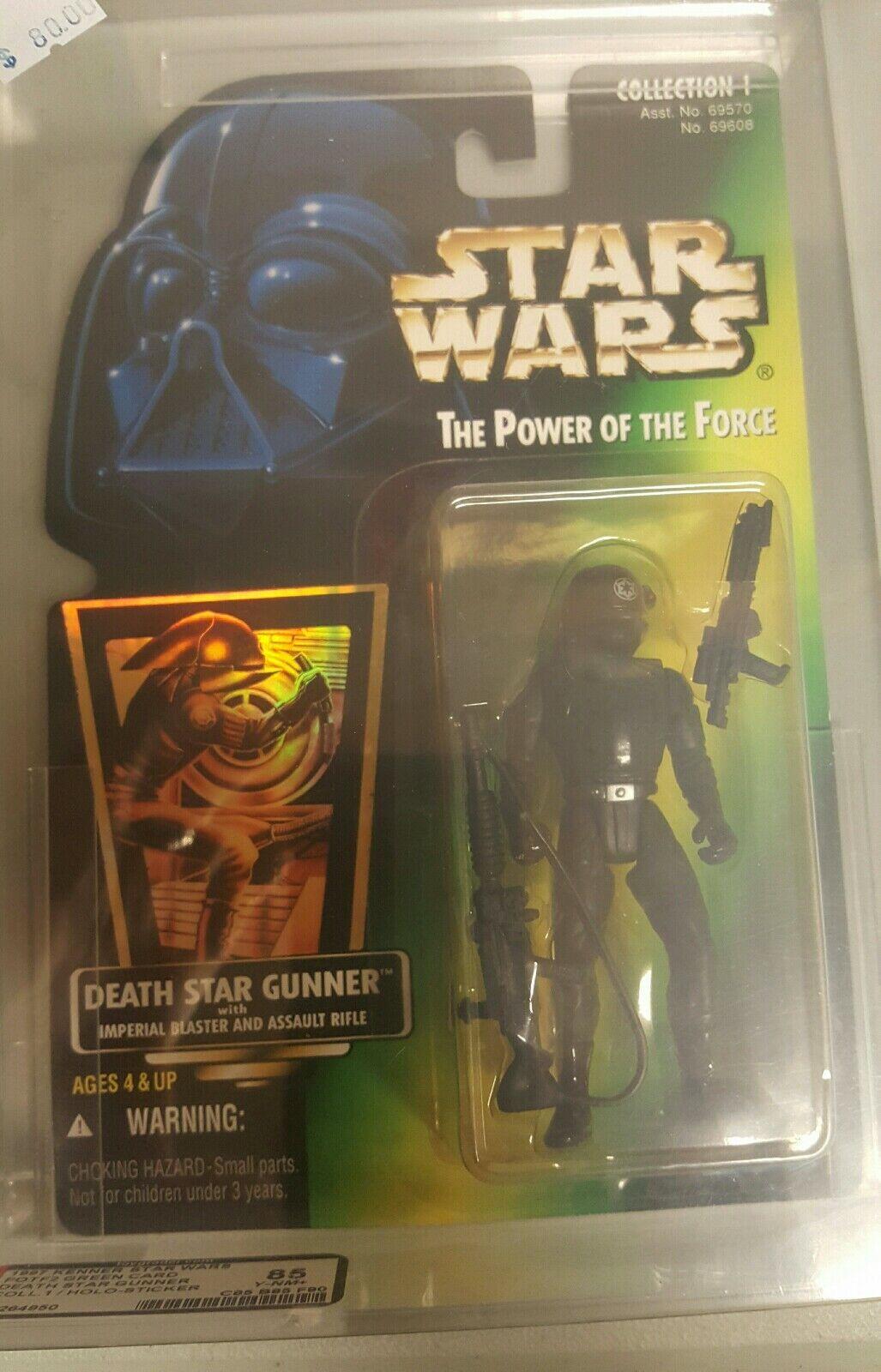 1997 Kenner Star Wars POTF2 Grün Card AFA Graded Death Star Gunner 85 Y-NM+