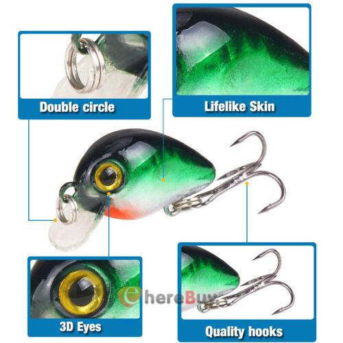 New Lot 10pcs Kinds of Fishing Lures Crankbaits Hooks Minnow Baits Tackle Crank