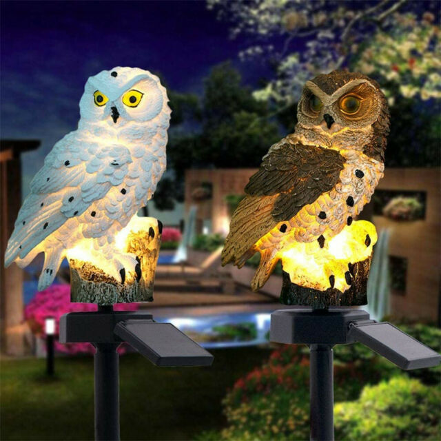 Waterproof Solar Power LED Light Garden Yard Lawn Owl Landscape Ornament Light