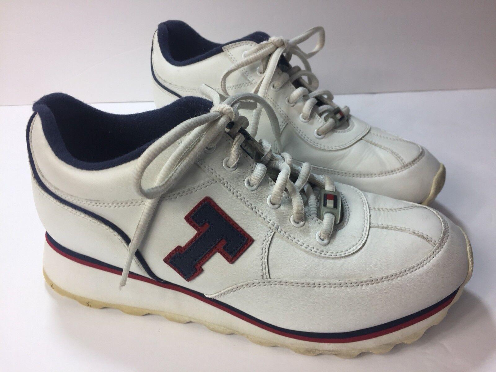 Tommy Hilfiger Sneakers Damenschuhe Sz 9 Vintage Big T Leder Farbe Block Flag Logo