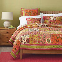 Dada Bedding Bohemian Pink Floral Roses Patchwork Quilted Coverlet Bedspread Set