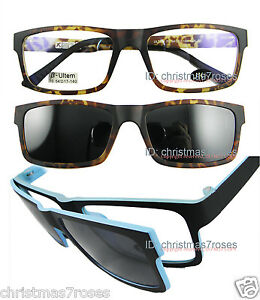 Men Eyeglass frame rectangle W Clip on magnetic polarized ...