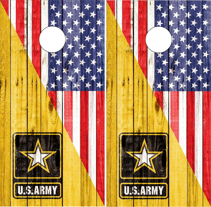 US Army Cornhole Wraps American Flag   US Vinyl Board Skins Decals Bag Toss Game  cheap sale