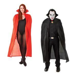 "Dracula Vampiro Mantello Rosso/Nero 56"" Adulto Costume Halloween Fancy Dress  </span>"