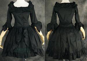 m-522-talla-M-NEGRO-BLACK-Cosplay-Vestido-Gotico-de-Lolita-Disfraz-Mujer-ANIME