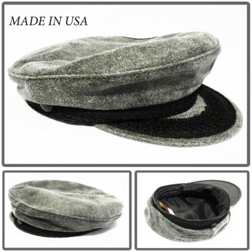 Made inUSA new classic 100/% leather greek fisherman hat military army navy cap