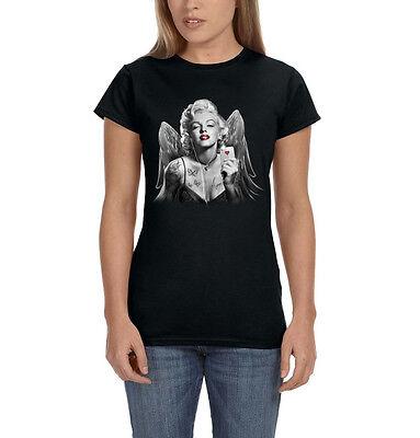 Marilyn Soldier Rifle Tattoo Women/'s T-Shirt Monroe Bombshell Gangster Thug Tee