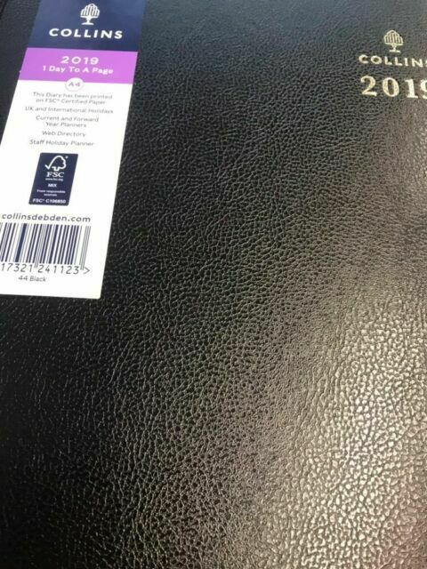 Collins 2020 A4 Day a Page//Page a Day//Day to Page Diary Hardback Office Black