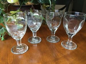 Four-Libbey-Rock-Sharpe-Chivalry-Iced-Tea-Water-Goblets-Paneled-Textured-6-1-2-034