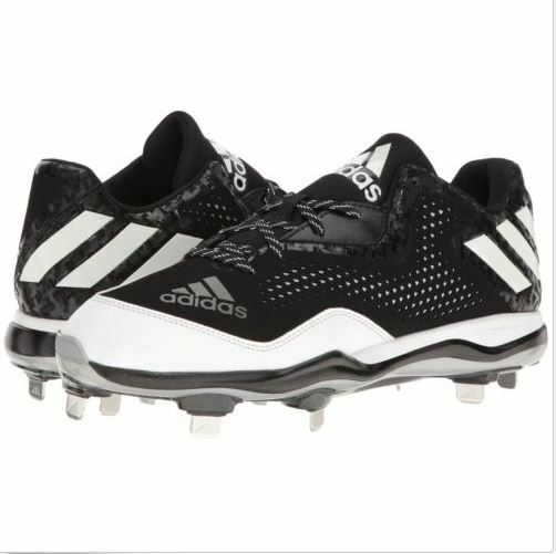 Adidas PowerAlley 4 Baseball Metal Cleats Shoes Black White Silver Size 11.5 US