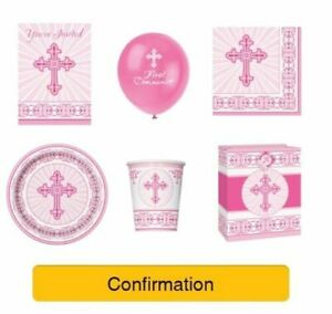 CONFIRMATION-Party-Range-PINK-GIRL-UNIQUE-RADIANT-CROSS-Decorations-Napkins
