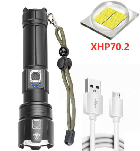 High Power 999900LM CREE XHP70 Zoom Flashlight LED Rechargeable Torch Headlamp