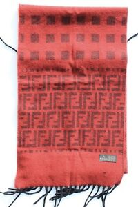 1557058d Details about NEW ORIGINAL CLASSIC FENDI PATTERN UNISEX SCARF RED AND BLACK