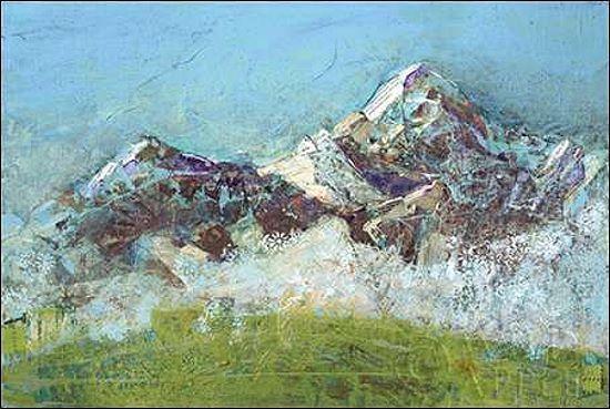 Kellie Day: Wilson Fog Green Keilrahmen-Bild Leinwand Berge Gebirge Landschaft