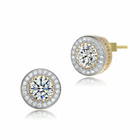 Rozzato Sterling Silver with Gold Plated Clear Round CZ Halo Stud Earrings