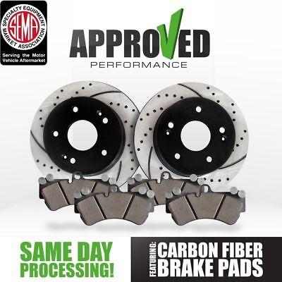 Rear Set Premium Drilled and Slotted Disc Brake Rotors Pair And Ceramic Pads