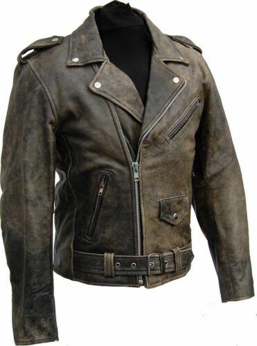 Retro Giacca di Pelle Nero Distressed bikers leather jacket new tutti i grandi s-10xl