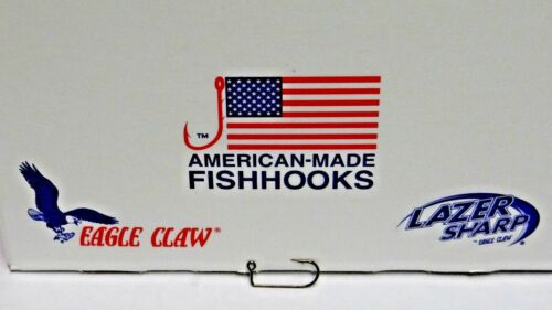 570 EAGLE CLAW 90° ABERDEEN-ROUND BEND-JIG HOOKS-BRONZE-SIZE-8 100 PACK
