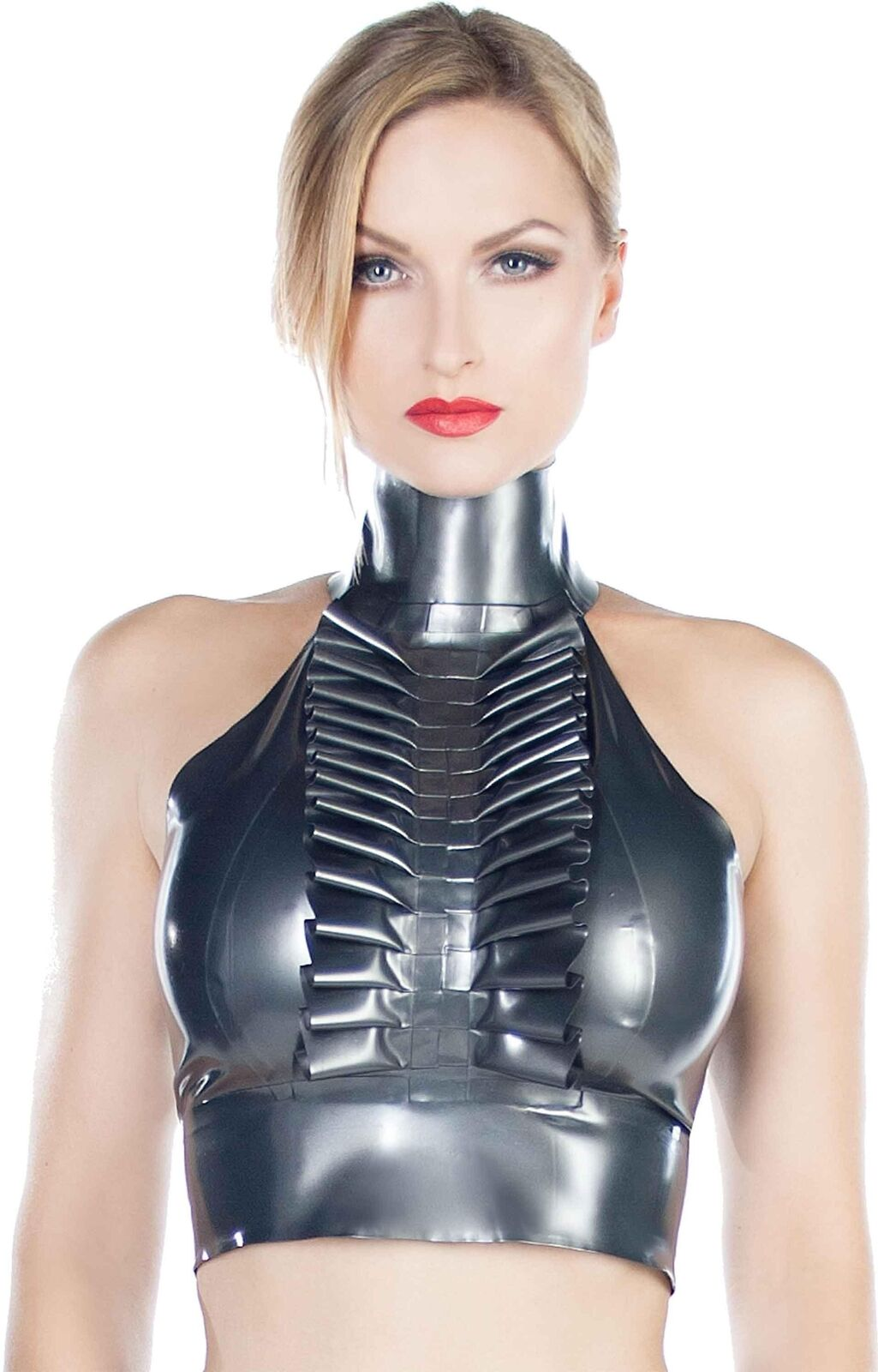 Westward Bound Shock Tux Latex Top Pearl Sheen Pewter