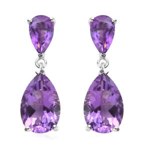 925 Sterling Silver Platinum Over Amethyst Dangle Drop Earrings Jewelry Ct 7.2