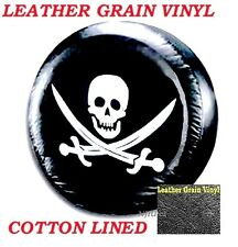 "LINED VINYL LEATHER GRAIN SPARE TIRE COVER 12-14"" rim Pop-up Camper Pirate Skull"