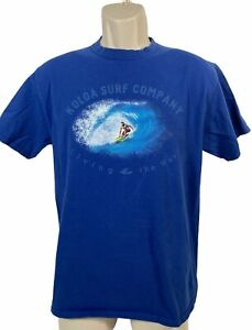 Vtg T-shirt Koloa Surf Company Adult Size M Blue Printed Surfing Living The Way