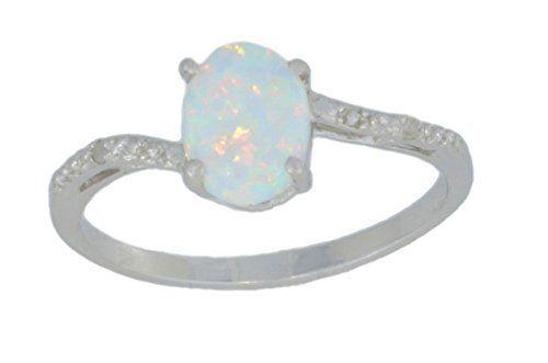 8x6mm Opale /& Diamant Ovale Bague Argent Sterling .925