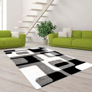 teppich hochwertig modern moda konturenschnitt retro muster grau creme schwarz ebay. Black Bedroom Furniture Sets. Home Design Ideas