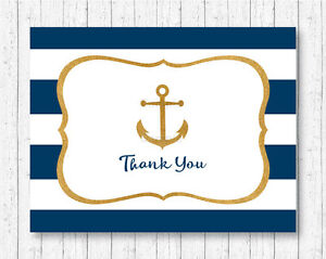 photo relating to Printable Anchor called Information and facts in excess of Nautical Gold Anchor Thank Your self Card Printable