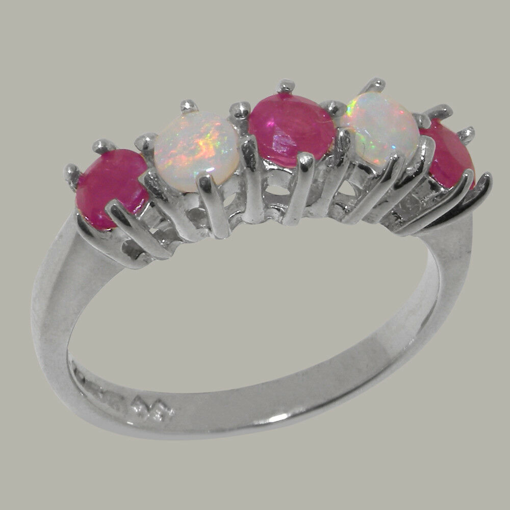 10ct White gold Natural Ruby & Opal Womens Eternity Ring - Sizes J to Z