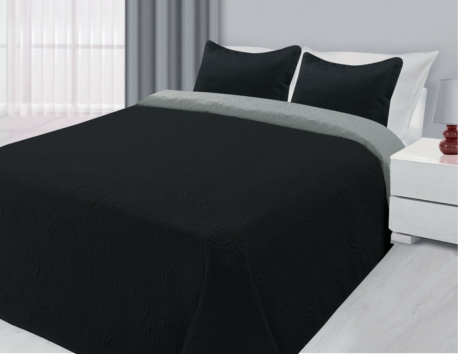 Black Silver Reversible Quilted Bedspread Embossed 3 Piece Coverlet Bed Set