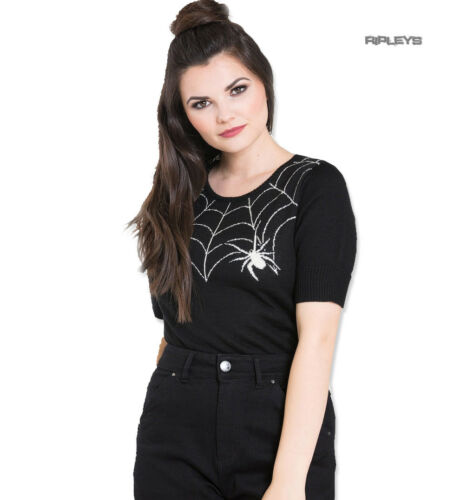 Hell Bunny Black 50s Spider Web BLACK WIDOW Short Sleeved Jumper All Sizes